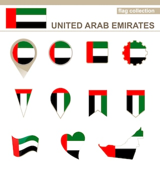 United arab emirates flag collection, 12 versions