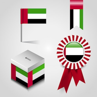 United arab emirates flag design icons set vector