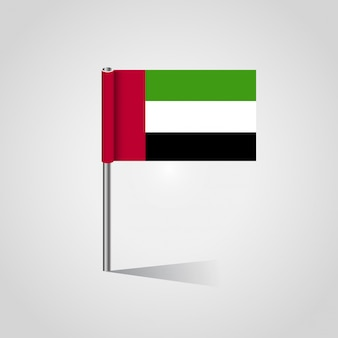 United Arab Emirates flag design vector with flag stand