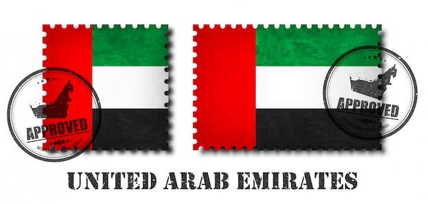 United arab emirates flag pattern postage stamp