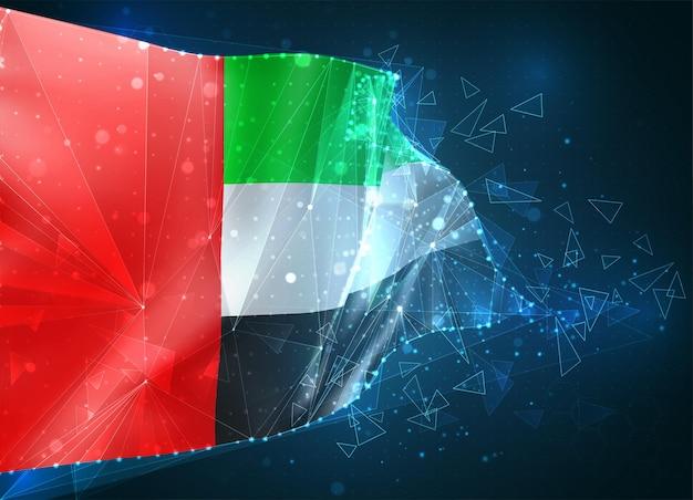 アラブ首長国連邦、旗、青い背景の三角形のポリゴンからの仮想抽象的な3dオブジェクト