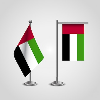 United arab emirates flag with flag stand