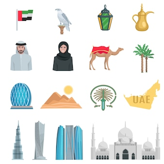 Объединенные арабские эмираты плоские иконки с символами государственных и культурных объектов, изолированных векторная иллюстрация