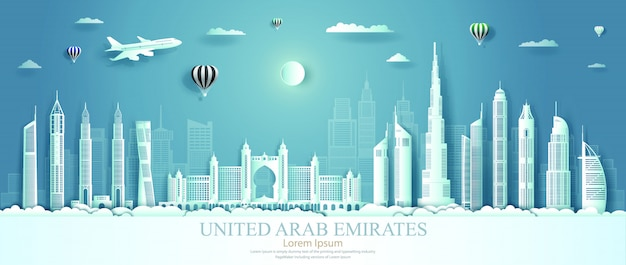 United arab emirates landmarks with architecture