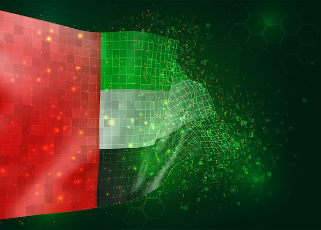 United arab emirates, on vector 3d flag on green background with polygons and data numbers
