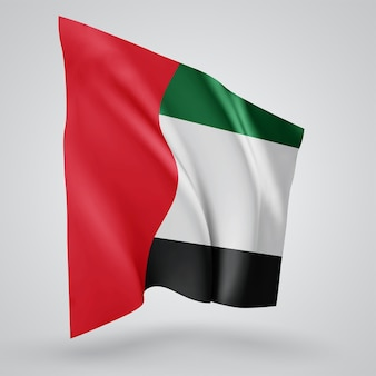 United arab emirates, vector flag with waves and bends waving in the wind on a white background.