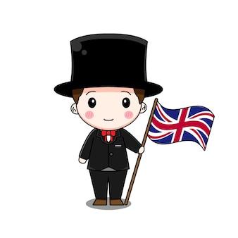 旗の民族衣装を着たイギリスの少年 Premiumベクター