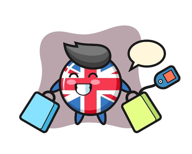 United kingdom flag badge, cute style design for t shirt, sticker, logo element