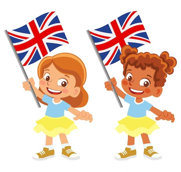 Флаг соединенного королевства в руке