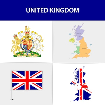 United kingdom flag map and coat of arms