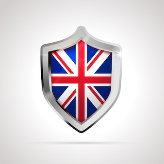 United kingdom flag projected as a glossy shield