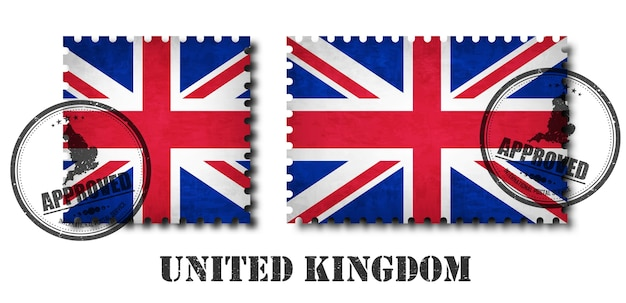 United kingdom of great britain flag pattern postage stamp
