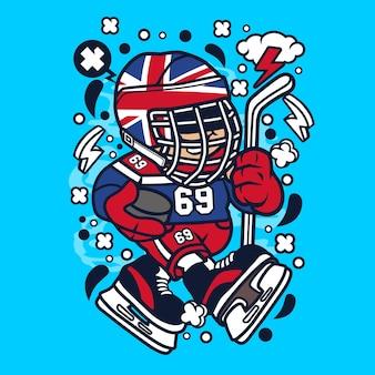 United kingdom hockey kid cartoon