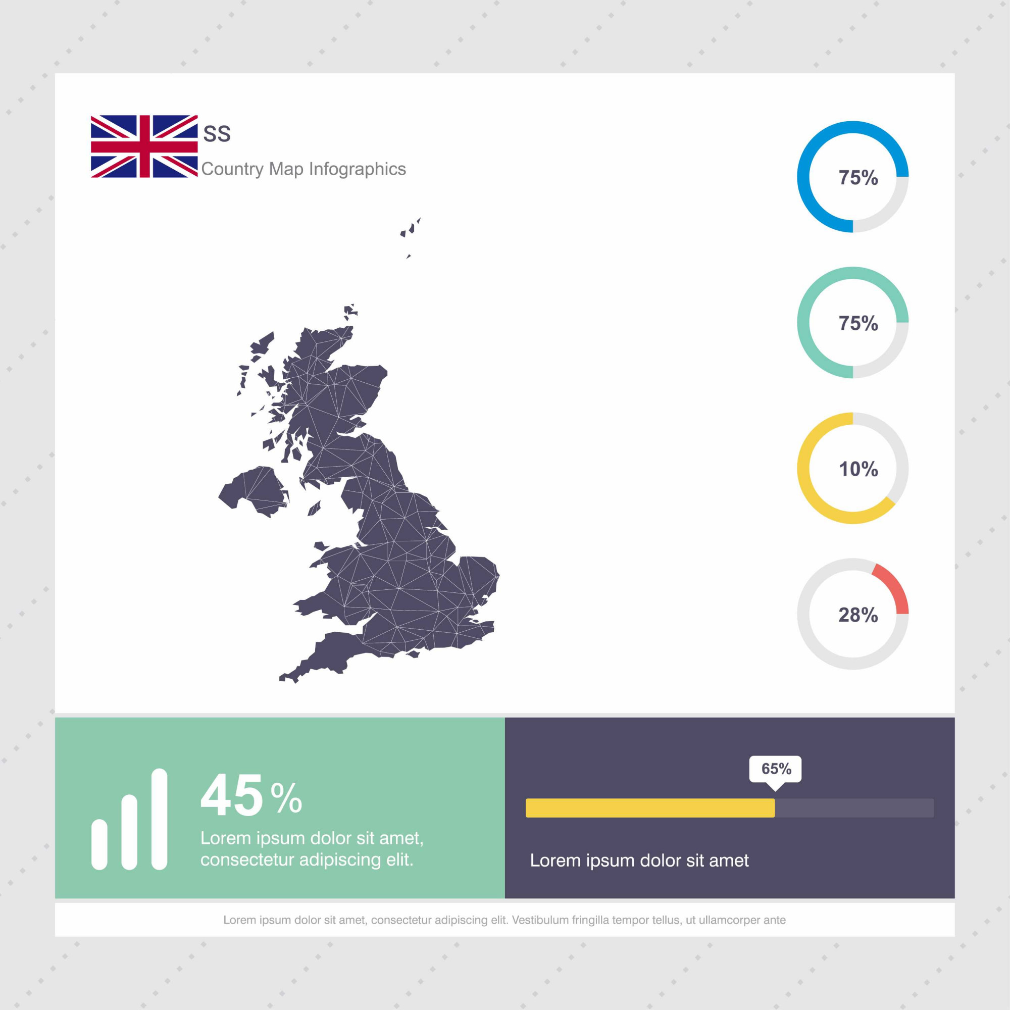 United Kingdom Map & Flag Infographics template