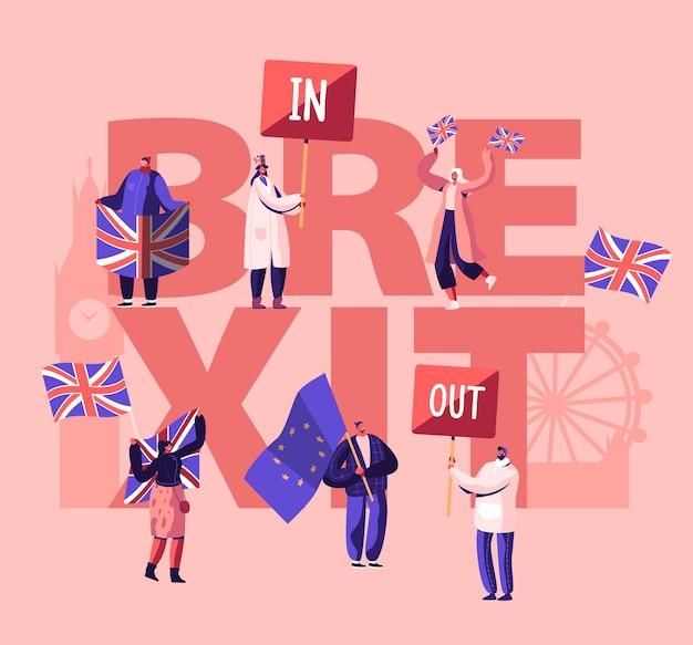 영국 정치 개념. 만화 평면 그림
