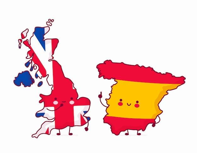 United kingdom and spain map illustrations