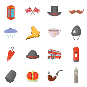 United kingdom travel icons set