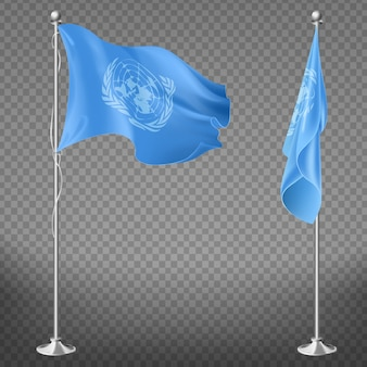 United nations organization flag on flagpole set isolated on transparent background.