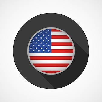 United state of america flag on button isolated on white