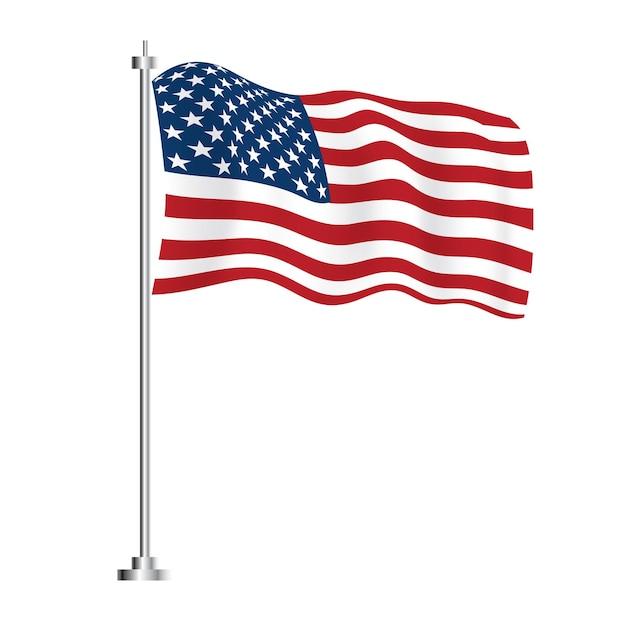 Флаг соединенных штатов америки. векторные иллюстрации. изолированные волна флаг страны сша.