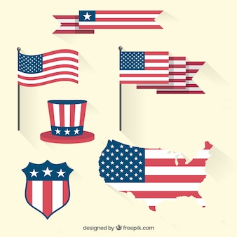 United states of amerca flag set