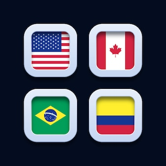 United states of america, canada, brazil and colombia flags 3d button icons