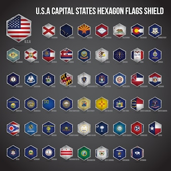 United states of america capital states hexagon flags shield