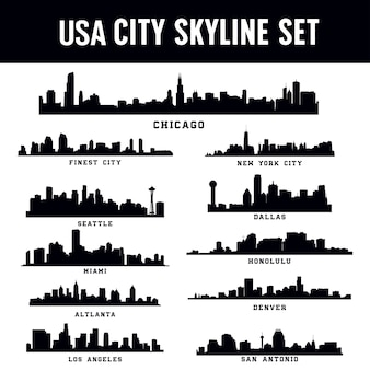United states america city skyline set