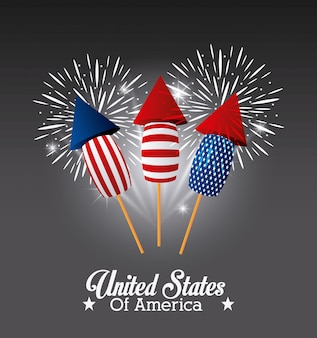 United states of america design with fireworks