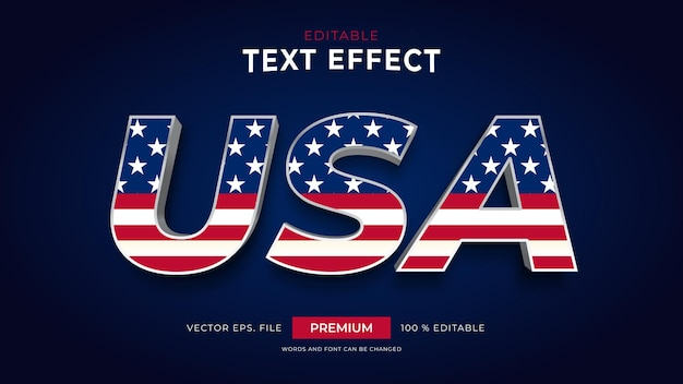 United states of america editable text effects