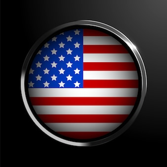 United states of america flag on round metal template vector illustration country sign