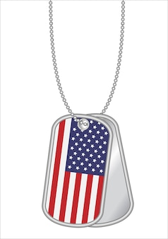 United states of america flag on a steel dog tag