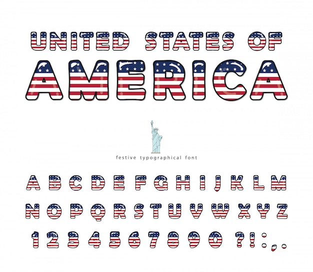 United states of america national flag colors font.