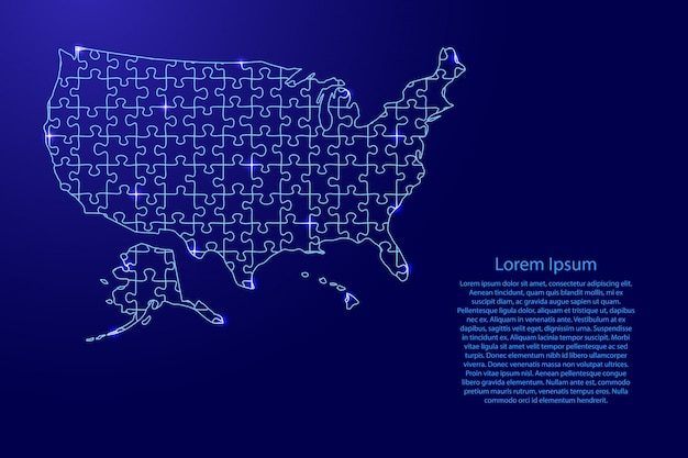 United states of america, usa map from blue pattern composed puzzles and glowing space stars.