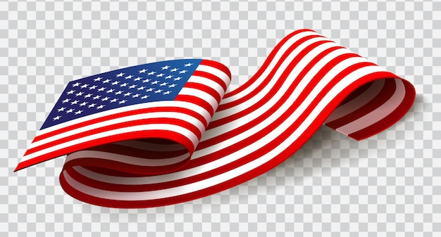 United states of america waving flag on transparent background for 4th of july Premium Vector