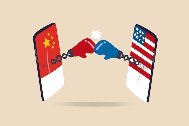 米国と中国の技術戦争、2か国が技術企業のリーダー、冷戦制裁と関税の概念、ボクシンググローブと戦う米国と中国の旗を掲げたデジタル携帯電話をめぐって争う