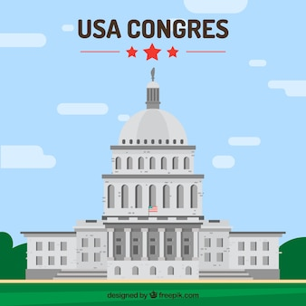 United states congress background in flat style