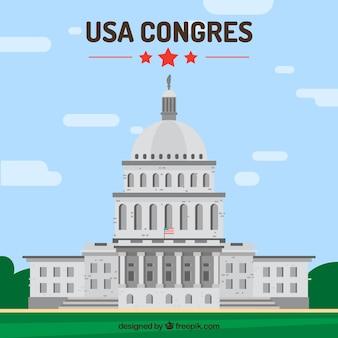 평면 스타일에 미국 의회 배경