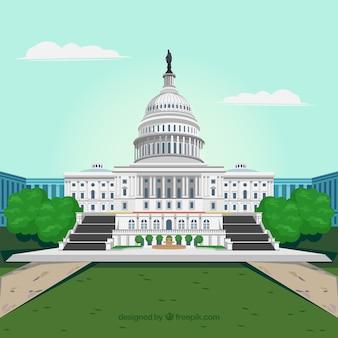 Конгресс соединенных штатов в плоском стиле