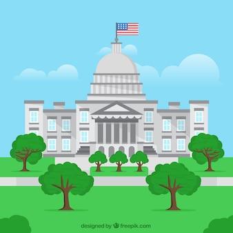 평면 스타일로 미국 의회 건물