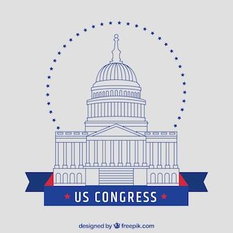 Здание конгресса соединенных штатов в плоском стиле