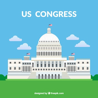 평면 스타일로 미국 의회 건물 무료 벡터