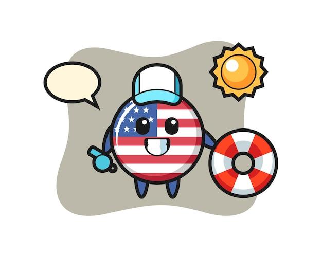 미국 국기 배지, 티셔츠, 스티커, 로고 요소를 위한 귀여운 스타일 디자인
