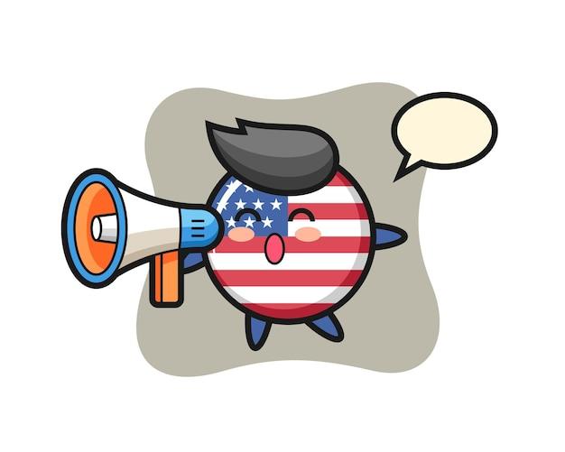 アメリカ合衆国の国旗バッジ、tシャツ、ステッカー、ロゴ要素のかわいいスタイルのデザイン