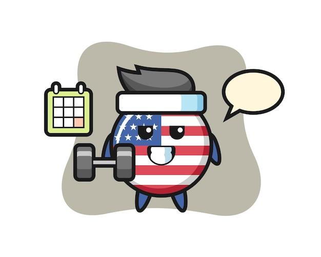 Значок флага сша, милый стиль дизайна для футболки, стикер, элемент логотипа
