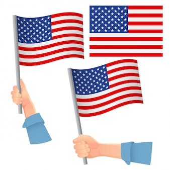 United states flag in hand set