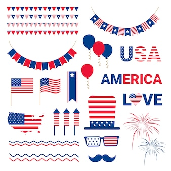United States Flag Independence Day Banner
