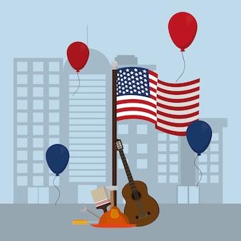 労働日の要素と合衆国の国旗