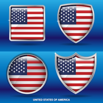 United states flags in 4 shape icon