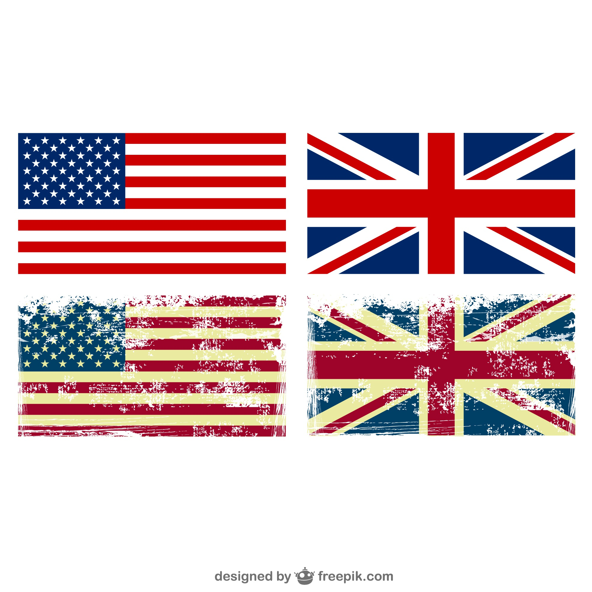 United States Great Birtain flags